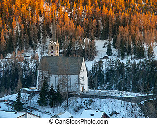 Churh in Scuol after sunset - Small gothic church in Scuol...
