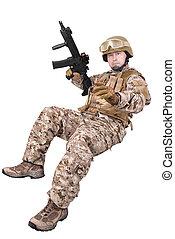soldado, em, uniforme, Pronto, Para, luta