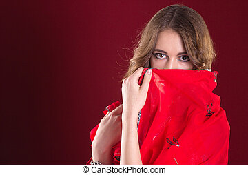Woman in red sari - Pretty caucasian woman wearing in red...