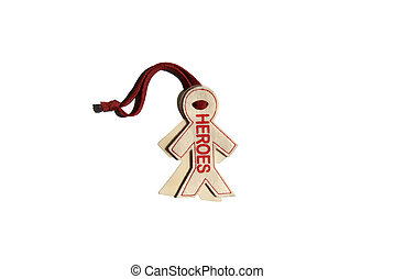 Pendant toy Heroes hanging  isolated on white