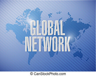 global network world map sign concept illustration design...
