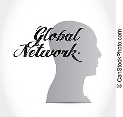 global network thinking brain sign concept illustration...