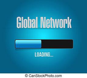chargement, barre, réseau,  global, signe,  concept