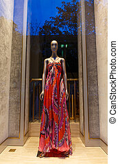 Boutique window with fashion mannequin
