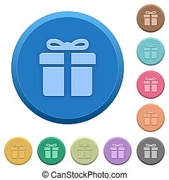Embossed gift box buttons