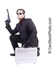 elegante, gángster, tenencia, arma de fuego