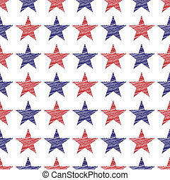 Fourth of July Stars Pattern - An illustration of seamless...