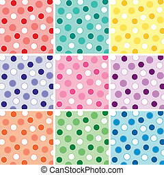 Nine Polka Dot Patterns - An illustration of a polka dot...