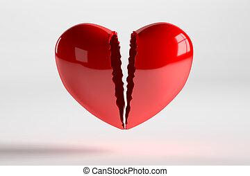 Broken Heart Isolated on White, 3D Rendering