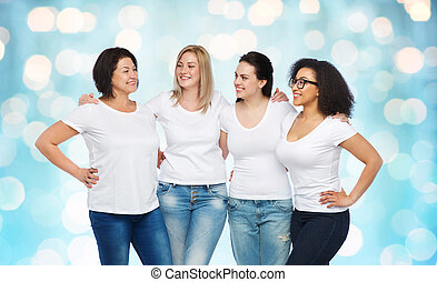 group of happy different women in white t-shirts -...