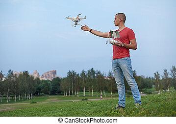 人, 公園, コントロール,  quadrocopter