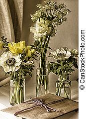 Jam Jar Flowers - Portrait color vintage vignette photo of 3...