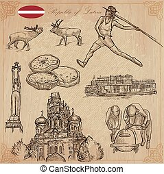 Latvia. Freehand vectors. Hand drawn collection. Line art. -...