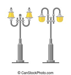 Street Lamp Light Posts Set on White Background. Vector...