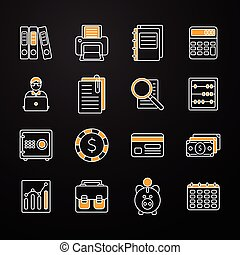 Accauntant Linear Flat Icon Set - Flat set with accauntant...