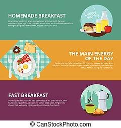 Breakfast Flat Banners Set