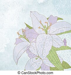 Lily on blue grunge background vector