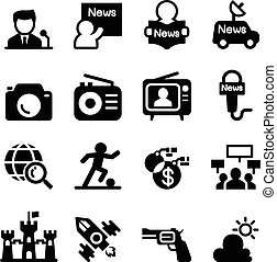 Mass media  & news icon set