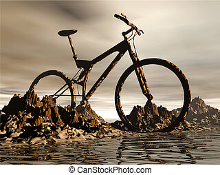 Mountain bike - dirt Mountain bike over the rock background...