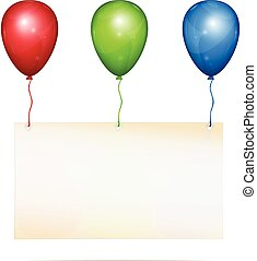 Greeting card on balloons - Blank greeting card with place...