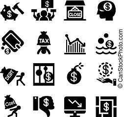 Business Crisis and business failure icon set