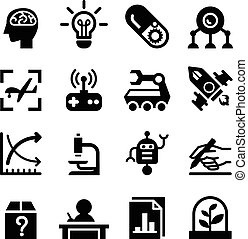 Invention & Research icon set