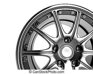 car rim - close up rendering part of chrome car rim (3d)