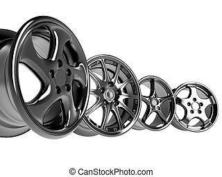 car rims - steel alloy car rims over the white background