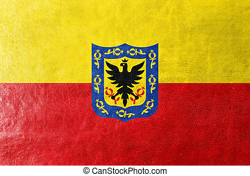 Flag of Bogota, Colombia, painted on leather texture