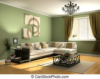 modern interior design private apartment 3d rendering