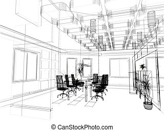 the modern office sketch - the modern office interior design...