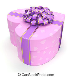 Pink box heart - Pink boxe with heart shaped purple ribbon