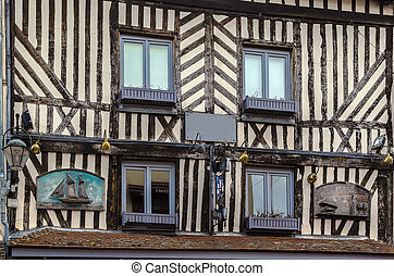 Timber framing house wall, Honfleur, France - Timber framing...