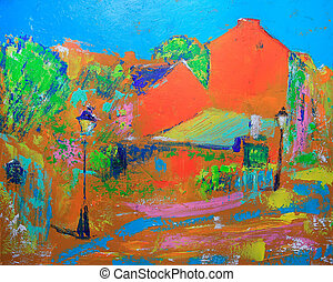 Paris,  Cityscape, abstratos, quadro