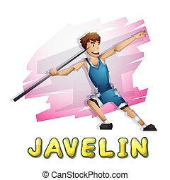 Cartoon vector javelin Olympic sport with separated layers