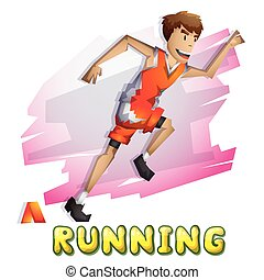 Cartoon vector running Olympic sport with separated layers