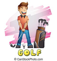Cartoon vector golf Olympic sport with separated layers for...