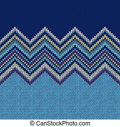 Seamless Ethnic Geometric Knitted Pattern Style Blue White...