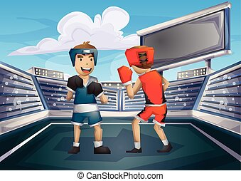 Cartoon vector boxing Olympic sport with separated layers...