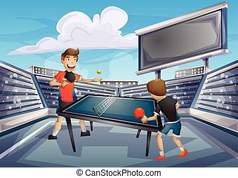 Cartoon vector table tennis Olympic sport with separated...