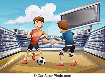 Cartoon vector soccer Olympic sport with separated layers
