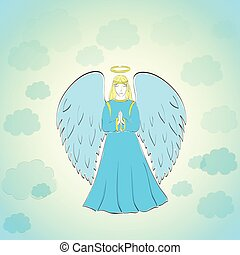 Praying Angel in Blue Sky - Hand Drawn Praying Angel in the...