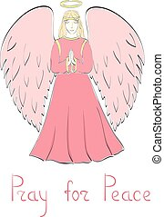 Praying Angel and Lettering - Praying Female Angel and...