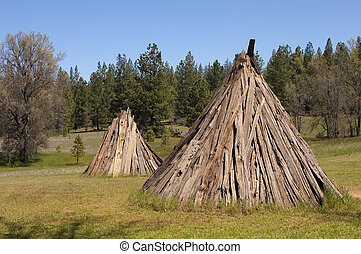 indian village - Californian Miwok native indian dwelling an...