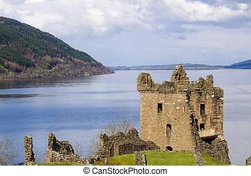 Urquhart Castle on Loch Ness in Scotland the home of the...