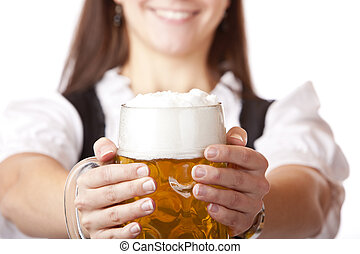 Macro of Oktoberfest beer stein held by woman - Closeup...