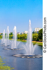 Fountains in Kiev District Rusanivka fountains panorama....