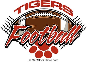 tigers football team design with ball and paw print for...