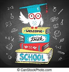 Owl in mortarboard sitting on books - Vector illustration of...
