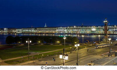 The Palace embankment and the rostral column timelapse June...